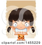 Clipart Graphic Of A 3d Mad Caveman Girl Over Strokes Royalty Free Vector Illustration