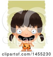 Clipart Graphic Of A 3d Happy Caveman Girl Over Strokes Royalty Free Vector Illustration
