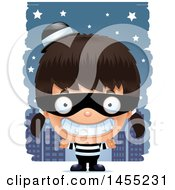 Clipart Graphic Of A 3d Grinning Robber Girl Against A City At Night Royalty Free Vector Illustration