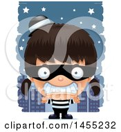 Clipart Graphic Of A 3d Mad Robber Girl Against A City At Night Royalty Free Vector Illustration