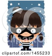 Clipart Graphic Of A 3d Happy Robber Girl Against A City At Night Royalty Free Vector Illustration