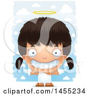 Clipart Graphic Of A 3d Grinning Angel Girl Over Clouds Royalty Free Vector Illustration