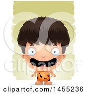 Clipart Graphic Of A 3d Happy Caveman Boy Over Strokes Royalty Free Vector Illustration