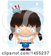 Clipart Graphic Of A 3d Grinning American Uncle Sam Girl Against Strokes Royalty Free Vector Illustration