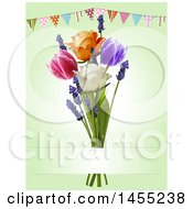 Clipart Of A Party Bunting Banner Over 3d Tulips Lavender And Roses On Green Royalty Free Vector Illustration by elaineitalia