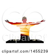 Poster, Art Print Of Silhouetted Male Dj In A Striped Pattern Holding His Arms Out Over A Record Deck