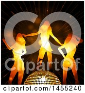 Poster, Art Print Of Trio If Silhouetted Women Dancing Around A 3d Golden Disco Ball Over Flares