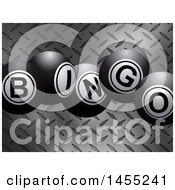 3d Diamond Plate Metal Texture With Bingo Balls