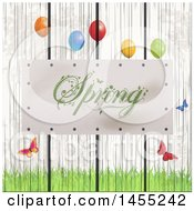 Clipart Of A Spring Plaque On A White Wash Wooden Fence With Grass Butterflies And Party Balloons Royalty Free Vector Illustration