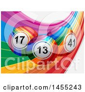 Rainbow Swoosh With Colorful Striped 3d Bingo Or Lottery Balls