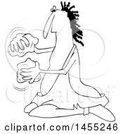 Cartoon Black And White Caveman Banging Rocks Together