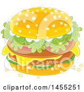 Clipart Of A Cheeseburger With Lettuce On A Sesame Seed Bun Royalty Free Vector Illustration