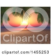 Poster, Art Print Of 3d Sunset With Palm Tree Branches And A Sandy Beach
