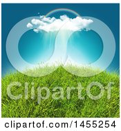 Clipart Of A Rainbow And Rain Cloud Over A 3d Grassy Hill Royalty Free Illustration