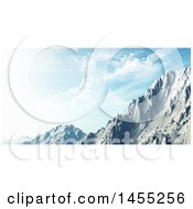 Clipart Of A 3d Snowy Mountain Landscape Under A Blue Sky With Clouds Royalty Free Illustration