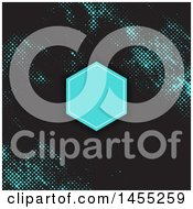 Clipart Of A Blank Frame Over A Black And Blue Halftone Dots Background Royalty Free Vector Illustration