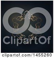 Clipart Of A Fancy Golden Frame On Black Stripes Royalty Free Vector Illustration