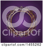 Clipart Of A Fancy Round Golden Frame Over Purple Royalty Free Vector Illustration
