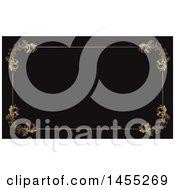 Clipart Of A Fancy Golden Floral Frame On Black Business Card Or Background Design Royalty Free Vector Illustration