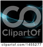 Clipart Of A Blue Smoke Waves On Black Background Royalty Free Vector Illustration