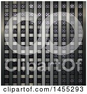 Clipart Of A Metal Grid Over Perforated Metal Background Royalty Free Illustration