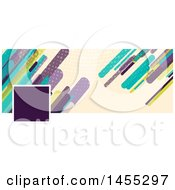 Clipart Of A Business Facebook Or Website Banner Design With A Space For A Photo Or Logo With Retro Colorful Shards On Tan Royalty Free Vector Illustration