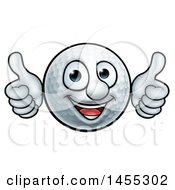 Cartoon Golf Ball Mascot Giving Two Thumbs Up