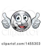 Poster, Art Print Of Cartoon Soccer Ball Mascot Character Giving Two Thumbs Up