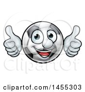 Cartoon Soccer Ball Mascot Character Giving Two Thumbs Up