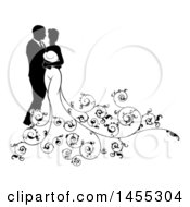 Clipart Of A Black And White Silhouetted Posing Wedding Bride And Groom With Floral Swirls Royalty Free Vector Illustration by AtStockIllustration