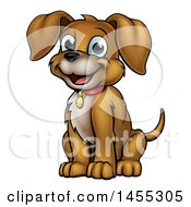 Clipart Of A Cartoon Happy Sitting Puppy Dog Royalty Free Vector Illustration
