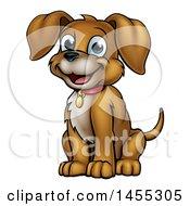 Cartoon Happy Sitting Puppy Dog
