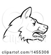 Poster, Art Print Of Black And White Profiled German Shepherd Dog Face