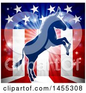 Clipart Of A Blue Silhouette Of A Rearing Democratic Donkey Over An American Flag Themed Burst Royalty Free Vector Illustration by AtStockIllustration