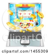 3d Laptop Computer With A Slot Machine And Coins Flying Out From The Screen