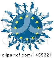 Clipart Of A European Flag Globe With Silhouetted Immigrants Royalty Free Vector Illustration by Domenico Condello