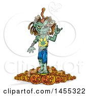 Poster, Art Print Of Cartoon Zombie Wearing A Pot Leaf Shirt And Smoking On Top Of Halloween Pumpkins