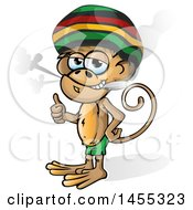 Clipart Of A Cartoon Jamaican Rasta Monkey Giving A Thumb Up And Smoking A Joint Royalty Free Vector Illustration by Domenico Condello