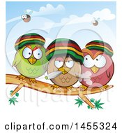 Clipart Of A Group Of Jamaican Rasta Owls Smoking A Joint On A Branch Royalty Free Vector Illustration