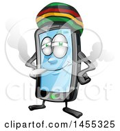 Clipart Of A Cartoon Jamaican Rasta Smart Phone Mascot Smoking A Joint Royalty Free Vector Illustration