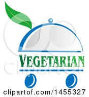 Clipart Of A Green Chef Vegetarian Text Design With A Leaf In A Cloche Platter On Wheels Royalty Free Vector Illustration