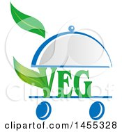 Clipart Of A Green Chef Veg Text Design With Leaves In A Cloche Platter On Wheels Royalty Free Vector Illustration