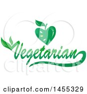 Clipart Of A Green Vegetarian Text Design With An Apple And Leaves Royalty Free Vector Illustration