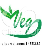 Clipart Of A Green Veg Text Design With Leaves Royalty Free Vector Illustration