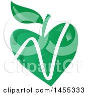 Clipart Of A Green Vegan Apple Design Royalty Free Vector Illustration