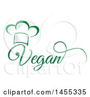 Clipart Of A Green Chef Hat And Vegan Text Design Royalty Free Vector Illustration by Domenico Condello
