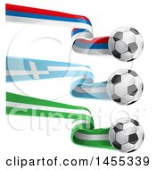 Poster, Art Print Of Soccer Balls And Nigerian Greek And Russian Flag Ribbons