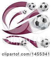 Poster, Art Print Of Soccer Balls And Qatar Flag Ribbons