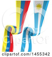 Poster, Art Print Of Vertical Uruguay And Colombia Ribbon Banner Flags