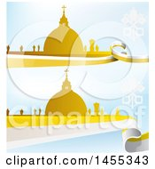 Clipart Of Golden Silhouetted Vatican City Over Flag Designs On Blue Royalty Free Vector Illustration by Domenico Condello